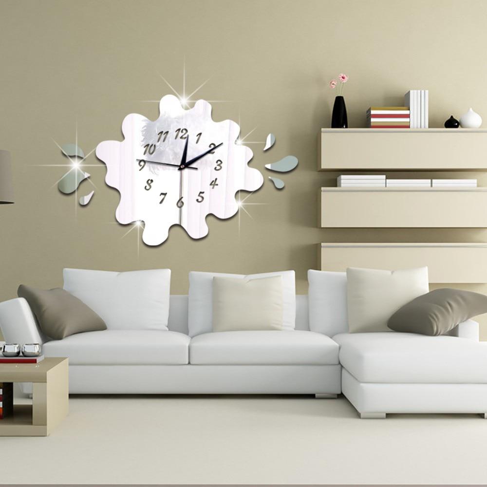 3D stereo DIY wall clock creative fashion personality mirror clock wall <font><b>stickers</b></font> for kids bedroom bathroom <font><b>children</b></font> room deco