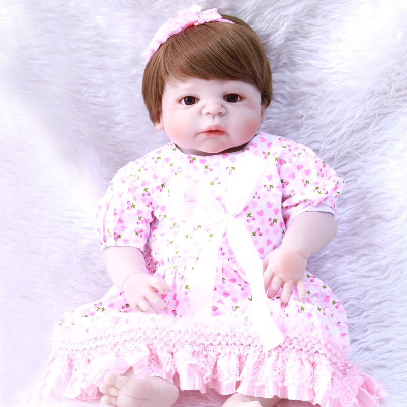 23 Lifelike Reborn Baby Dolls White Skin Babies Doll Full Vinyl Body So Truly Girl Model Doll For Toddler bebe Toy Gifts ...