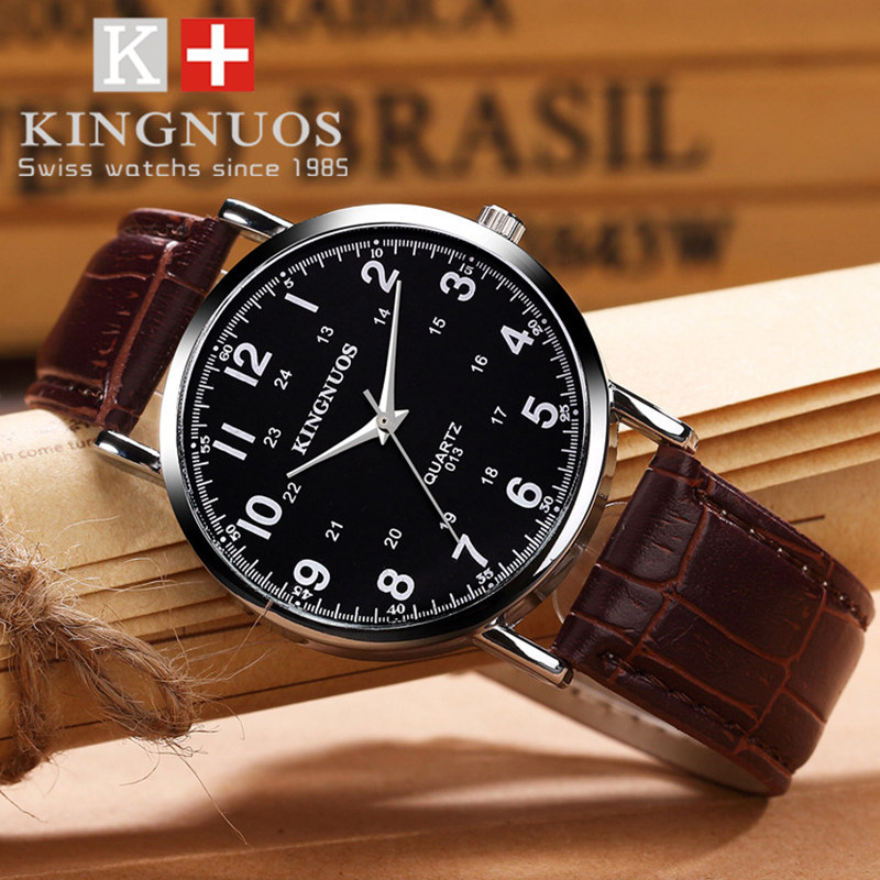 KINGNUOS Brand Hot New Watch Men Fashion All-match Leather Quartz Watches  Casual Lovers Waterproof Wristwatch  Zegarek Damski free drop shipping 2017 newest europe hot sales fashion brand gt watch high quality men women gifts silicone sports wristwatch
