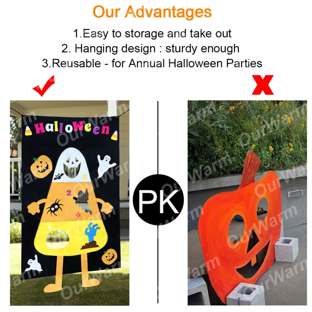 OurWarm Halloween Corn Hole Toss Game for Kids Party Felt Pumpkin Ghost Toss Game Halloween Decoration Funny Outdoor Home Games in Party DIY Decorations from Home Garden