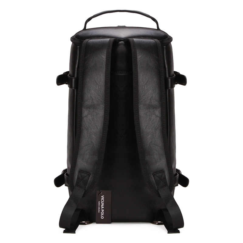 d499eeb58876 ... VICUNA POLO Personality Large Size Round Leather Mens Travel Bag  Fashion Rolling Travel Backpack For Man ...