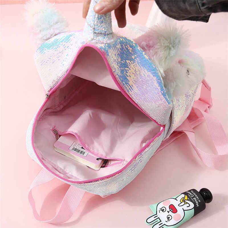 6ad4c2fbfb New Sequins Unicorn Backpack For Women Winter Cartoon Plush Backpack For  Girls Travel Backpacks Female Rucksack .