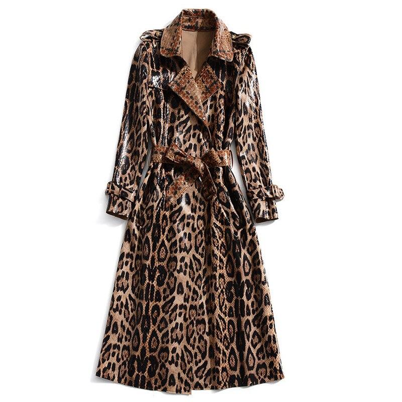 XF Windbreaker 2019 Spring And Autumn Fashion Designer Show Women'S Lapel Belts Snakeskin Leopard Print England Elegant Coat