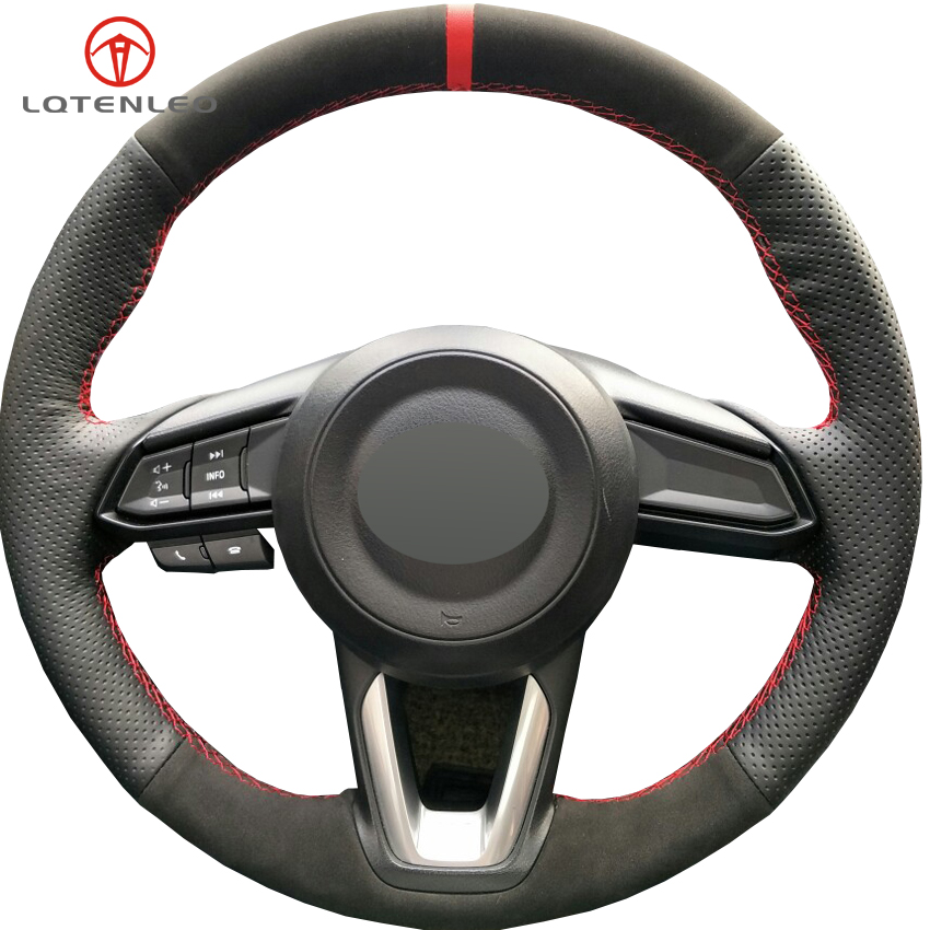 LQTENLEO Black Leather Suede Car Steering Wheel Cover For