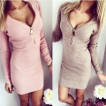 Sexy women v-neck dress autumn party dresses vestido de festa robe femme tight cloth with zippers