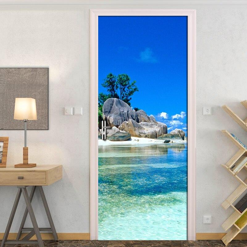 Blue Sky White Clouds Island Landscape 3D Door Sticker Photo Wall Paper Living Room Bedroom Waterproof Door Stickers Home Decor