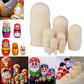 10pcs Handmade DIY Blank Wooden Russia Nesting Dolls Gift Russian Nesting Wishing Dolls DIY Craft Matryoshka Traditional BM