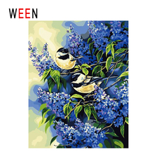 WEEN Purple Flowers Diy Painting By Numbers Abstract Bird Oil On Canvas Cuadros Decoracion Acrylic Wall Art Home Decor