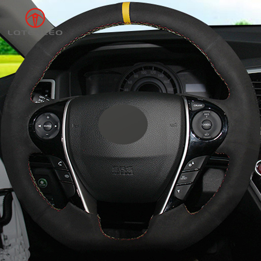 LQTENLEO Black Suede DIY Hand stitched Car Steering Wheel Cover for Honda Accord 9 Odyssey Crosstour