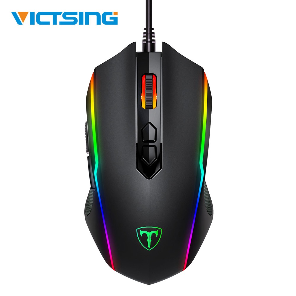 VicTsing RGB Gaming Mouse 8 Programmable Buttons 7200 DPI Adjustable Optical Wired Mouse Game Mice With Fire Button For Gamer PC
