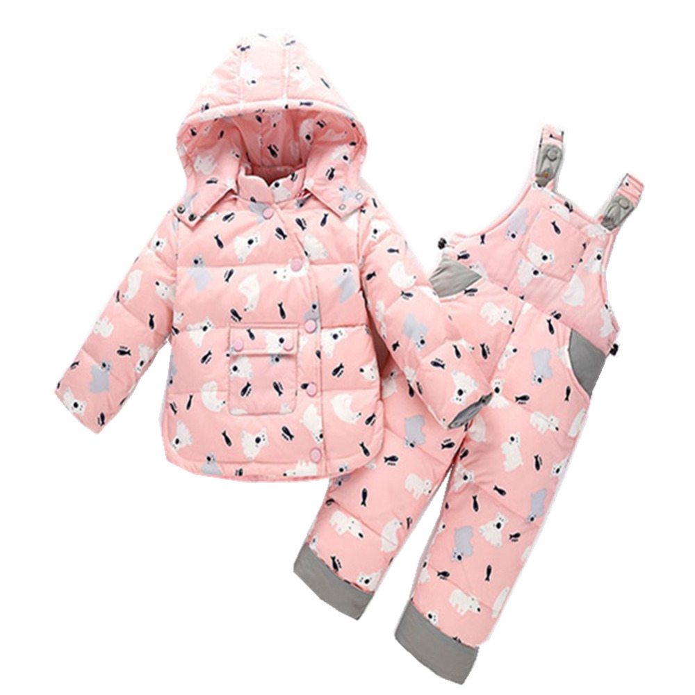 2017 Children Winter Clothing Set Kids Ski Suit Baby Boy Girl Down Jacket Coat + Jumpsuit 2Pcs/Suit 2016 winter boys ski suit set children s snowsuit for baby girl snow overalls ntural fur down jackets trousers clothing sets