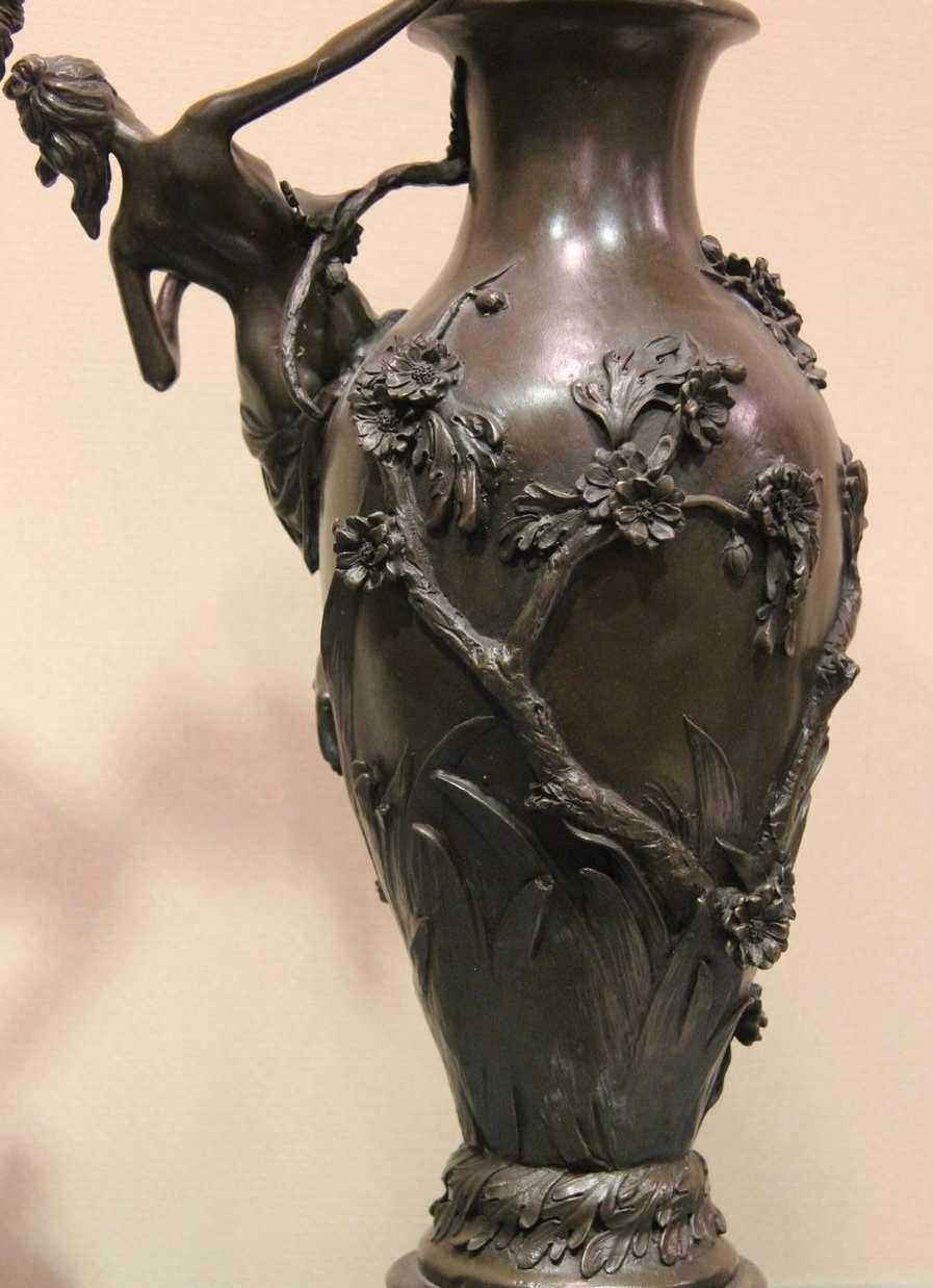 Western Art Deco Copper Bronze /& Marble Dancers Plum Statue Sculpture Pot Vase