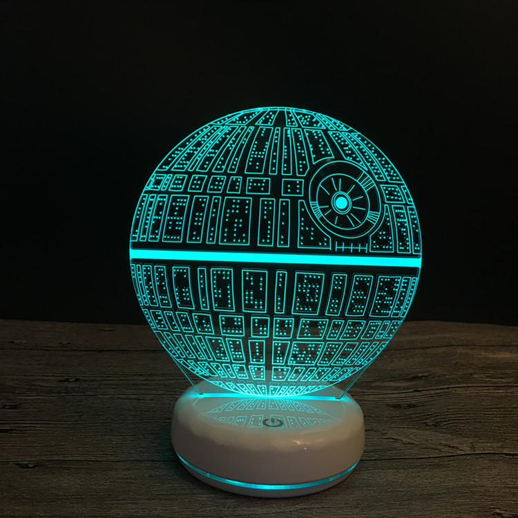 US $13.74 40% OFF|NEW Star Wars Death Star 3D LED Night Light Touch Switch LED Table Lamp USB 7 Color Room Decor Baby Sleeping Lighting For Gift in