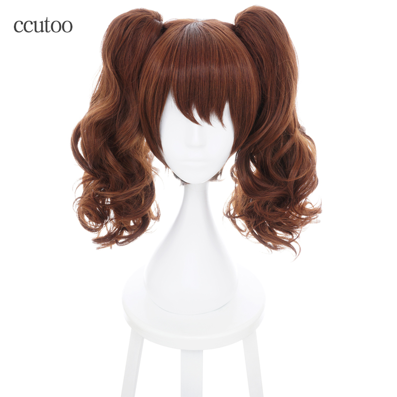 Home Intelligent Kujikawa Rise Maid Collection Ryuujou Brown Curly Synthetic Hair Cosplay Wig With Chip Ponytails Heat Resistance Fiber