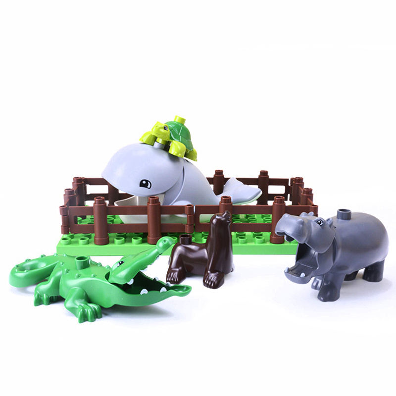 5Pcs-50pcs DIY Big Size Farm Dinosaur Animal Series Building Blocks Sets Bricks Compatible with Duploe Toys  for children  (13)