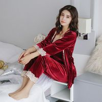 2017 3 Set Autumn Winter Women Warm Pajama Sets Fashion Pajama Long Pants Set Female Pajamas