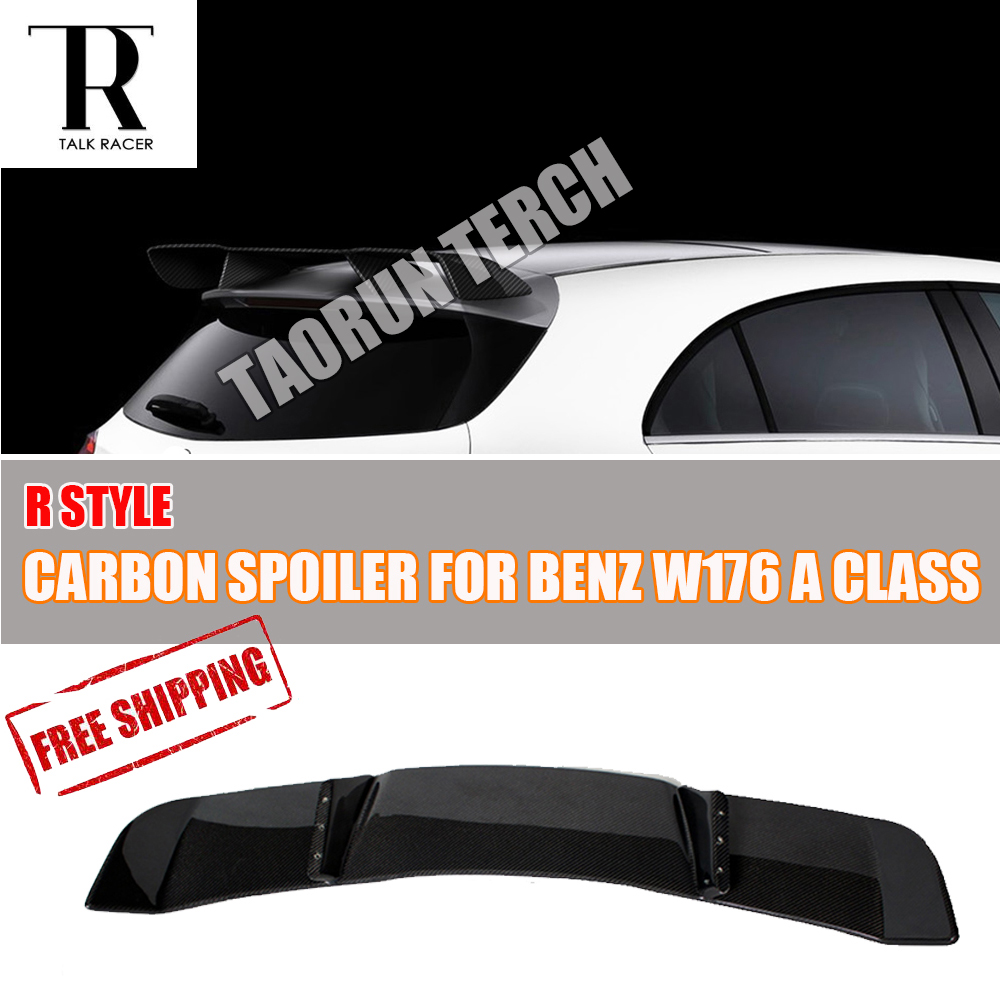 W176 Carbon Fiber Rear Wing Spoiler for Benz W176 A-Class A180 A200 A250 A260 & A45 AMG 2013 2014 2015 2016 2017 R Style