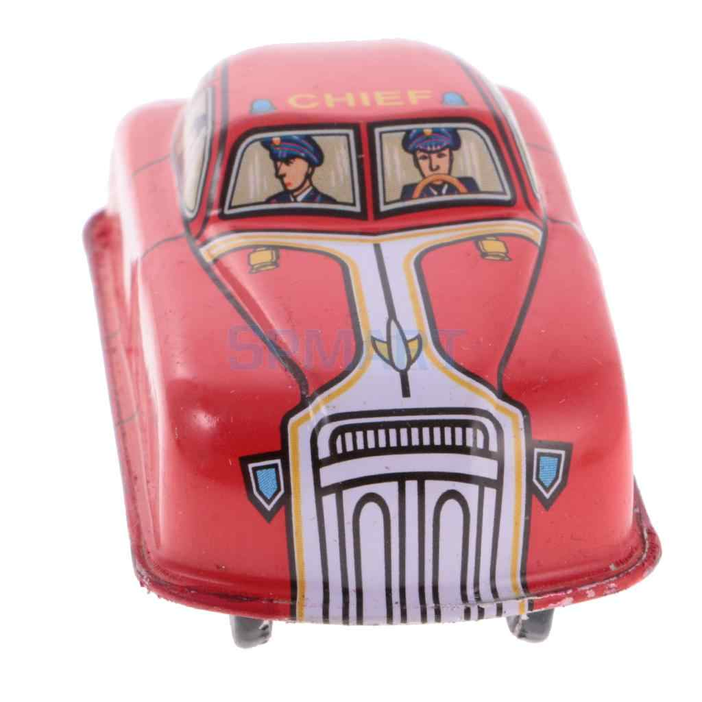 Dailymall Vintage Fire Car Model Wind-up Clockwork Tin Toy Collectible Gift Red