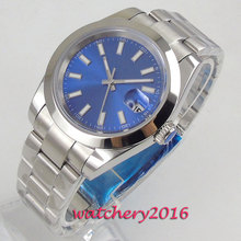 цена на 39mm Bliger Blue Dial Sapphire Glass Stainless steel Case Top Brand Luxury Automatic movement men's Watch