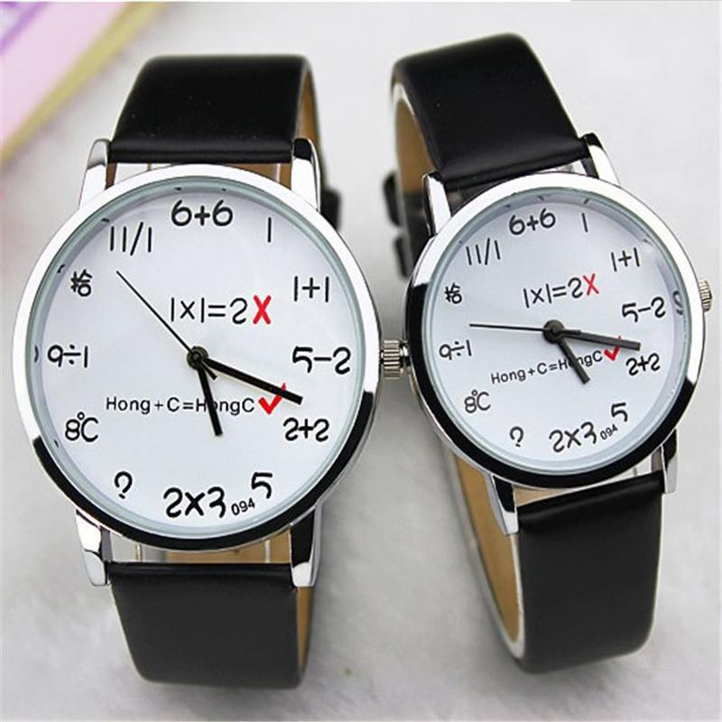 Fashion Math Square Watch Funny Numbers Comment Women Men Dress Casual Analog Quartz PU Leather Wrist Watches Bracelets fashion women watches funny comment women men wrist watches who cares im already late ltter print ladies gift 2017 hot selling