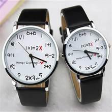 8f93f684da1f Moda matemáticas reloj cuadrado números divertidos comentario mujeres  hombres vestido Casual analógico cuarzo pulsera de cuero P..