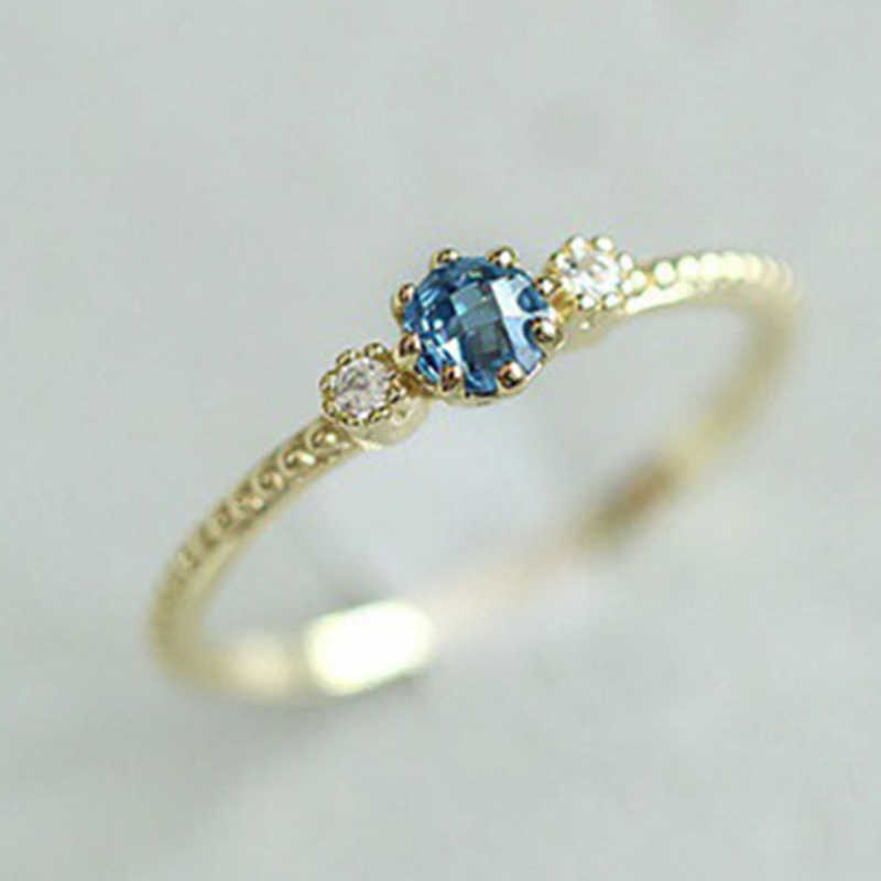 Dropshipping New Fashion Big Blue Gem Crystal Rings For Women Gold/Silver Color Female Ring Party Jewelry Wholesale