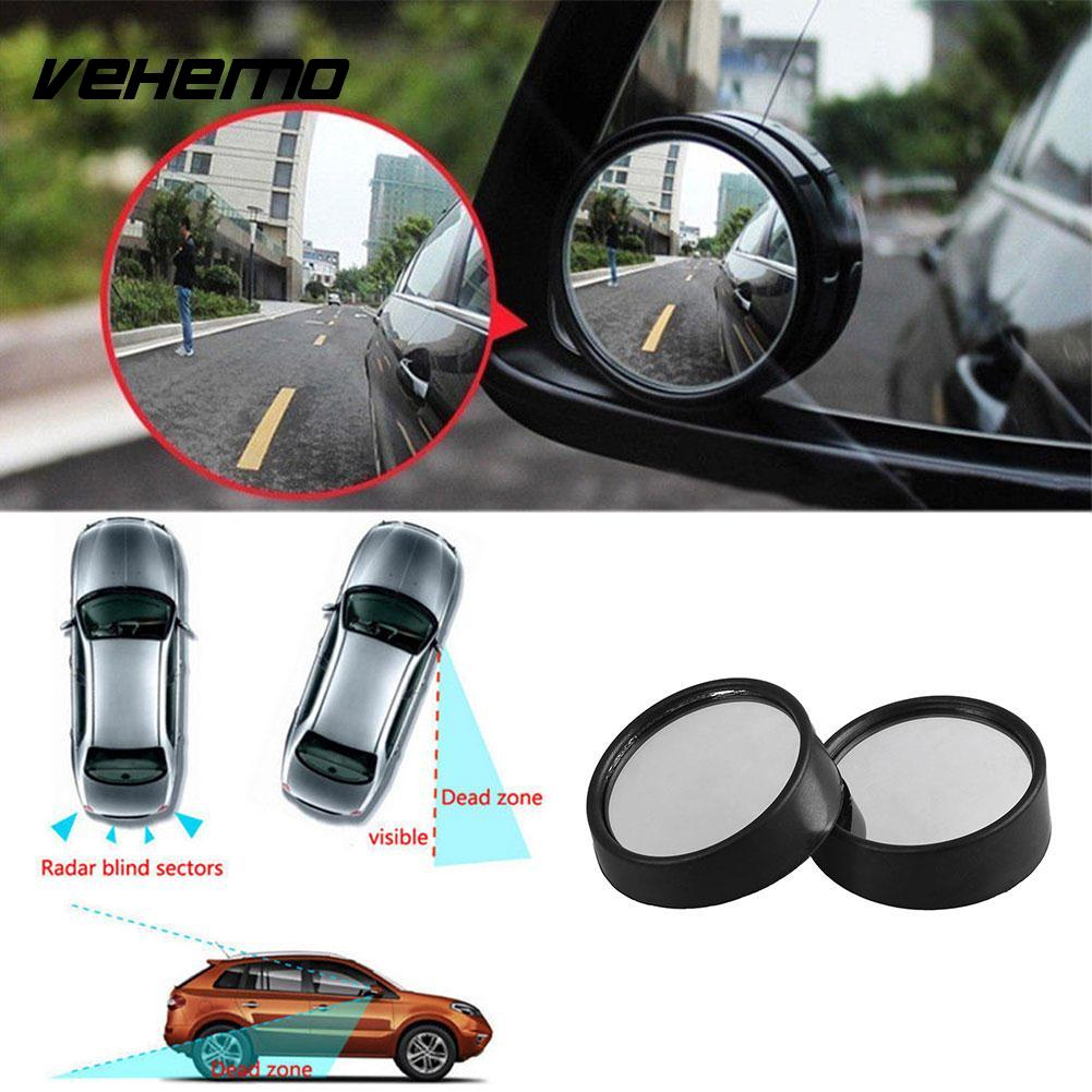 Vehemo 2Pcs Car Wide Angle Small Round Convex Blind Spot Dead Zone Rearview Mirror car reversing auxiliary mirror car blind spot reversing rearview mirror support angle adjustment