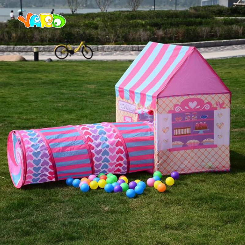 YARD Play Tent Castle House Tunnel Baby Folding Play Tent For Kids Baby Crawl Tunnel Playhouses for Kids Christmas Gift image