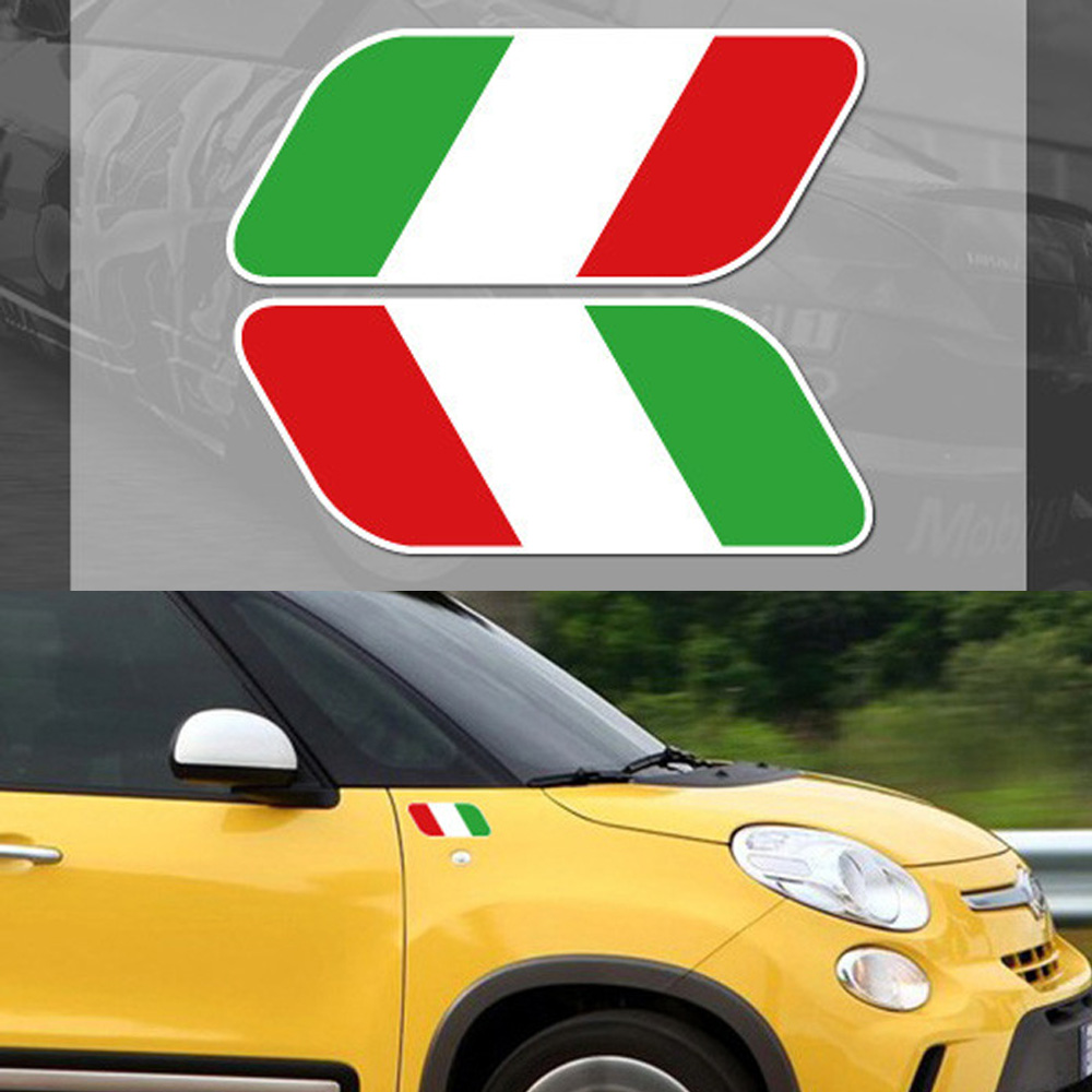 2pcs car styling italian national italy flag window decal stickers universal reflective side fender badge for
