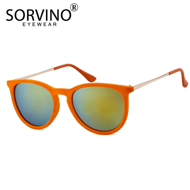 1a6b213de4 SORVINO Vintage Velvet Mirror Erika Sunglasses Women Men 2018 Brand  Designer Skinny Orange Oval Sun Glasses 90s Big Shades SP105