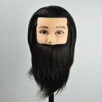100% שיער אדם ההדרכה mannequin ראש זכר גברים למספרות ראש בובה עם שיער אדם manequim ראש של הבובה