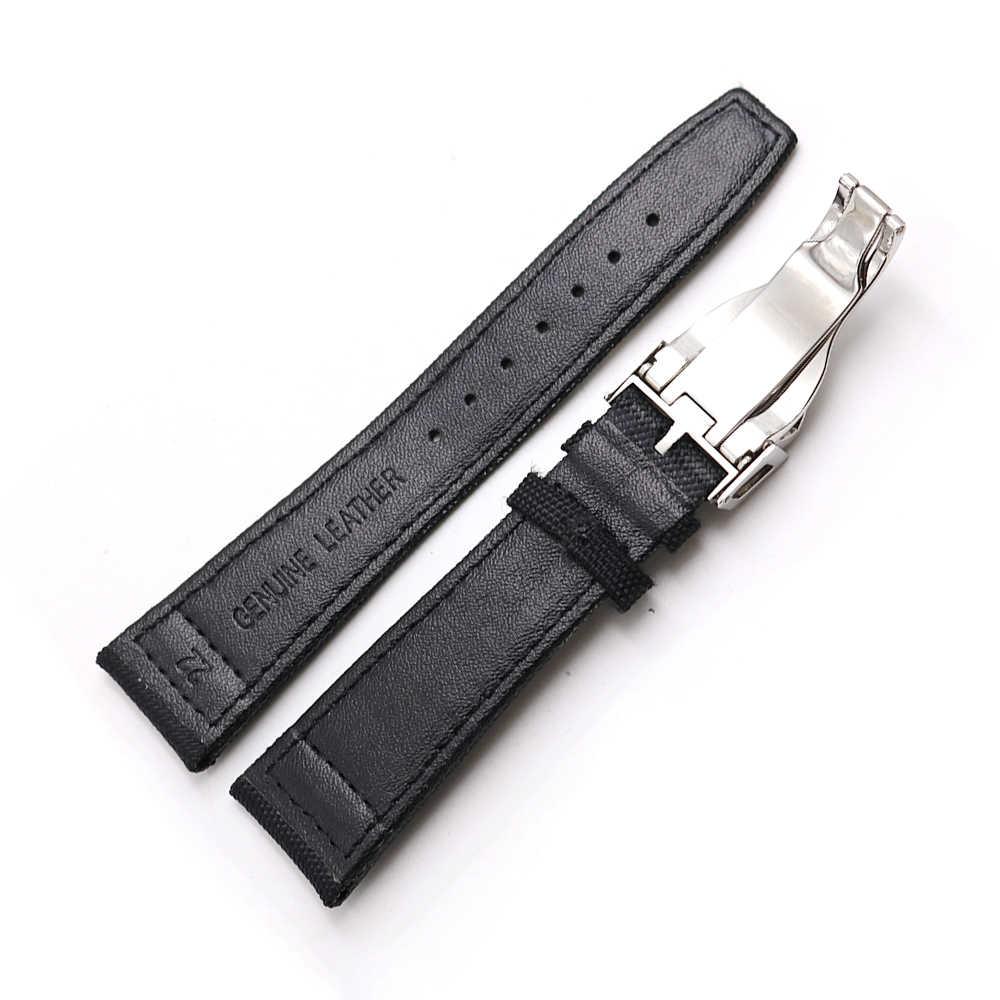 CARLYWET 20 21 22 мм нейлон ткань кожа замена наручные часы Группа петли Ремешок развертывания застежка для Tudor Omega IWC rolex