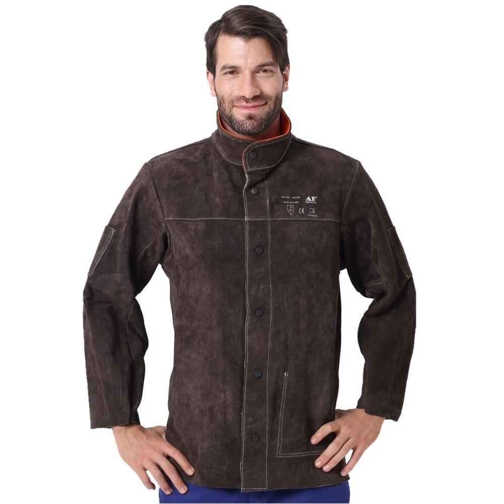 Veste de soudure en cuir fendu peau de vache flamme/chaleur/Abrasion résistant EN11611 certification CE pour le tablier de tissus de soudure