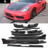 13pcs/set 718 Carbon fiber Front lip rear diffuser side skirts rear spoiler Side air inlet for Porsche Boxster Car body kit 718