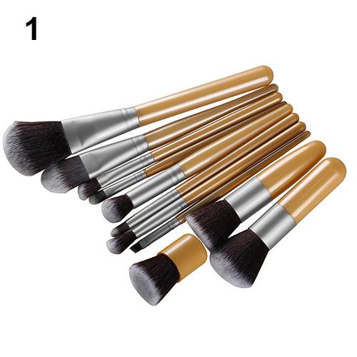 11Pcs Wood Handle Makeup Cosmetic brushes