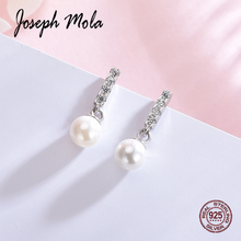Joseph Mola 925 Sterling Silver Pearl Earrings Cubic Zirconia 6 8mm Simulated Drop Party Ear Decor Jewelry Gift