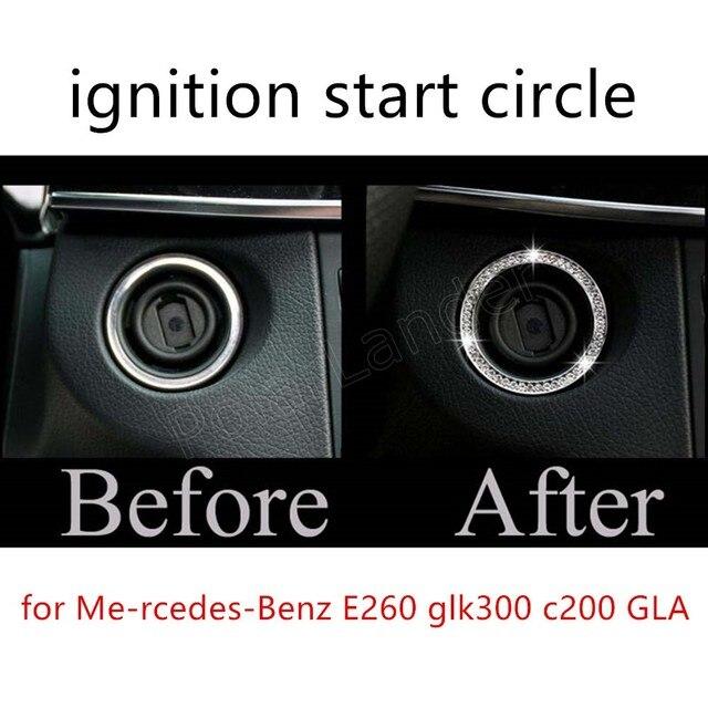 2 цветов на выбор ключ кнопка запуска украшения палки зажигания круг замочная скважина автомобиль для Меня rcedes-Benz E260 glk300 c200 GLA