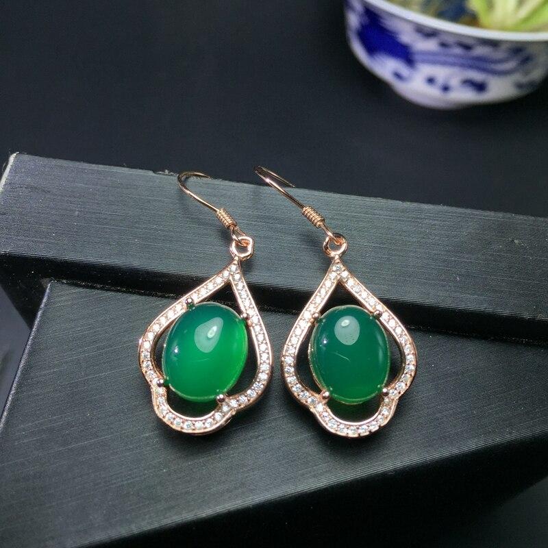 Uloveido Green Chalcedony Stud Earrings Women 925 Sterling Silver Jewelry 9 11mm Gemstone with Velvet Box