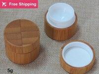 High Quality 5g 10 Pcs Lot Bamboo Cream Jar Inner PP Body Care Cream Jar
