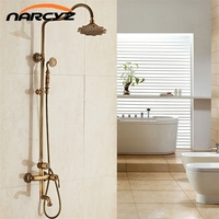 Deluxe Carving Retro Style Solid Brass Antique Bathroom Shower Set Faucet Wall Mounted Dual Handle Rainfall