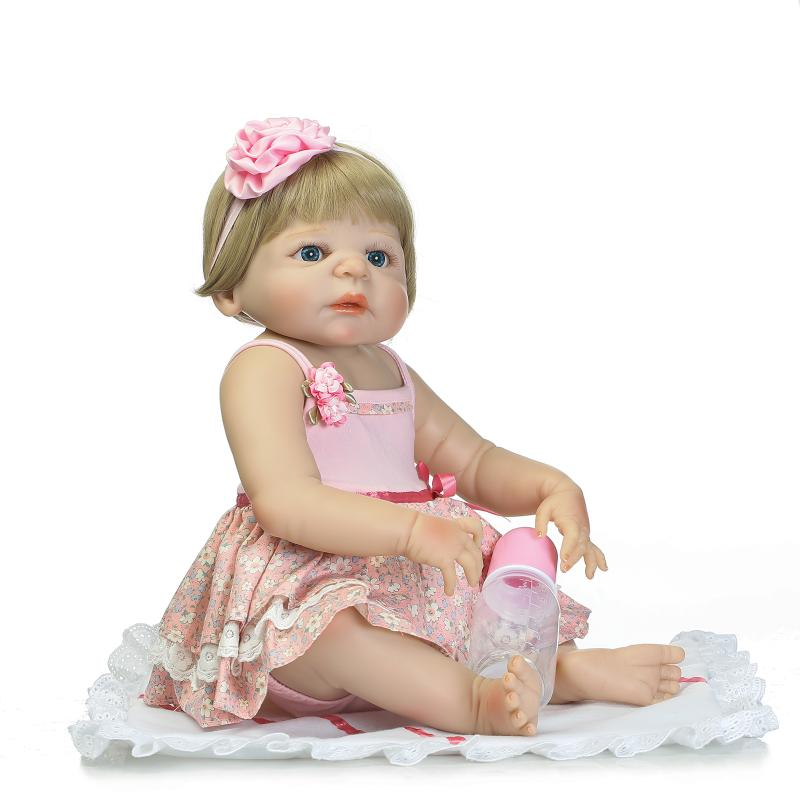 55cm 22 Full Body Silicone Reborn Baby Doll Toys Newborn Girl Babies Dolls Brithday Gift Present Child Brinquedos Bathe toy 55cm full body silicone reborn baby doll toys baby reborn dolls bathe toy kids child brithday gift girls brinquedos christmas pr