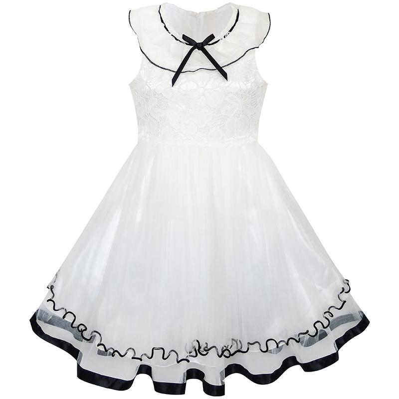 Flower     Girl     Dress   White Ruffle Collar Lace First Communion Pageant 2018 Summer Princess Wedding Party   Dresses   Clothes Size 5-10