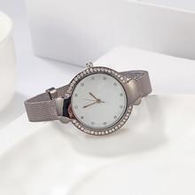 Модные роскошные женские часы Брендовые женские часы кварцевые часы из нержавеющей стали с сетчатым ремешком наручные часы Relogio feminino