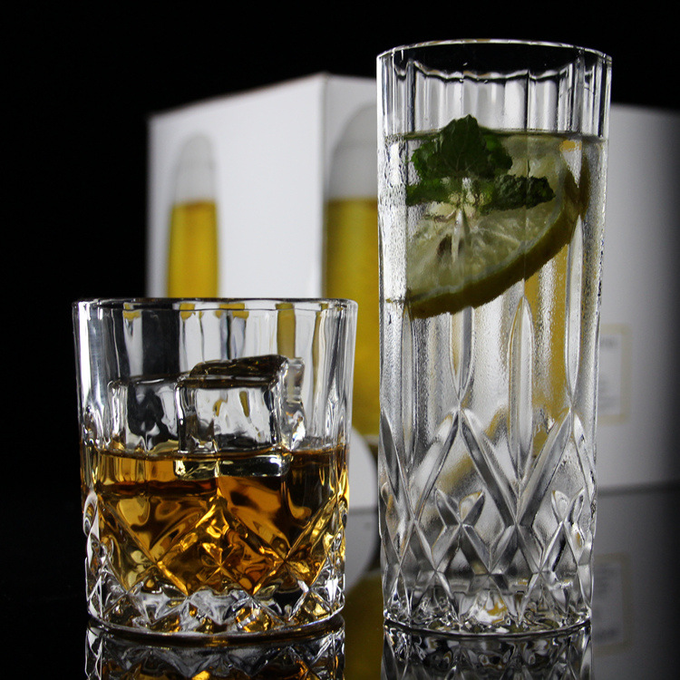 6 pieces pack Wholesale lead-free glass whisky glass bar classical rock Colin glass KTV flat diamond Luo cup