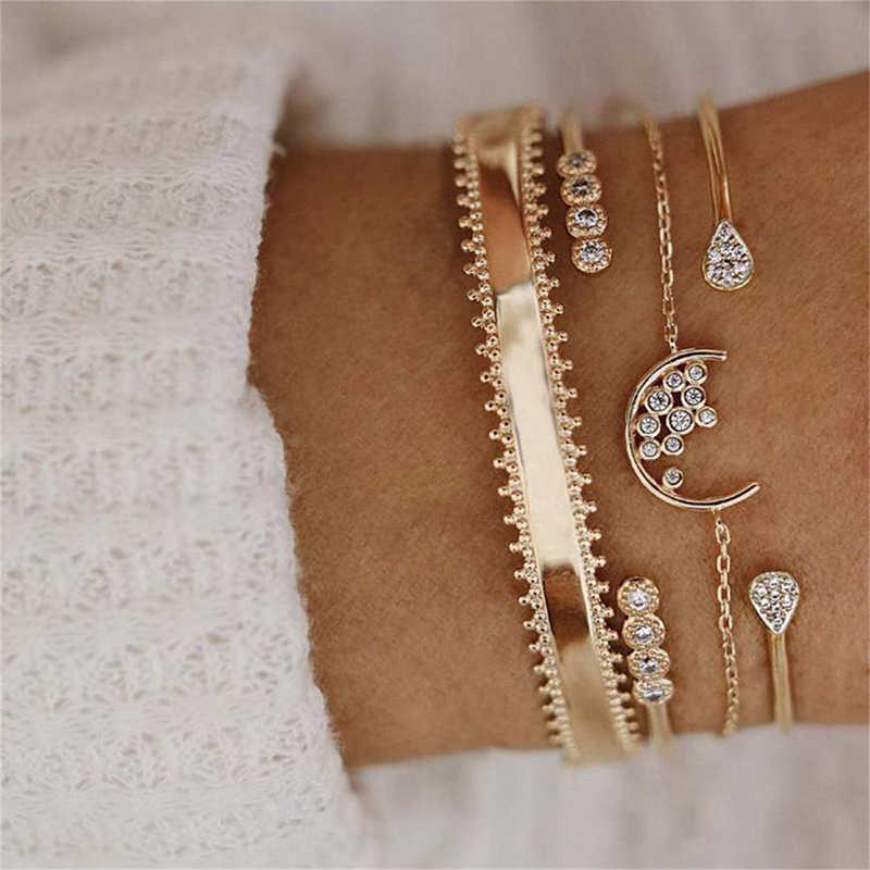 4 Pcs/ Set Women Fashion Crystal Gem Moon Water Drop  Round Geometry Chain Opening Gold Bracelet Charm Lady Multilayer Bracelet