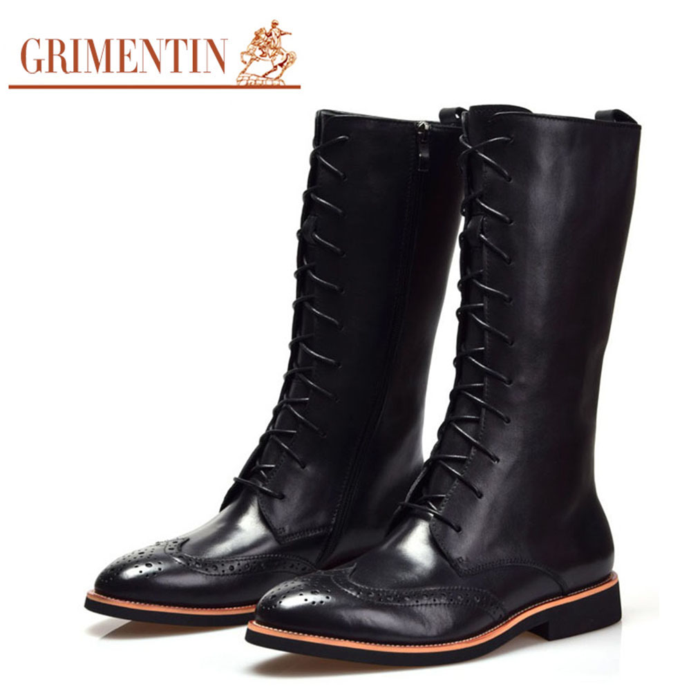 GRIMENTIN Brand 2016 fashion mens knee high boots genuine leather ...