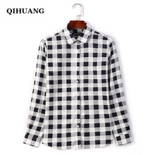 QIHUANG Casual Womens Plaid Shirts Cotton Long Sleeve 2019 Fashion Women Blouses Plus Size 5XL Spring Autumn Shirt