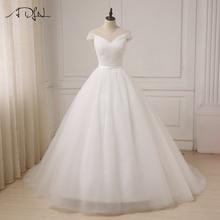 ADLN 2017 Tulle Vit Elfenbensklänning Bröllopsklänningar för Brudklänningar Vintage Plus Storlek Kunder Tillverkad Storlek US 2-28W