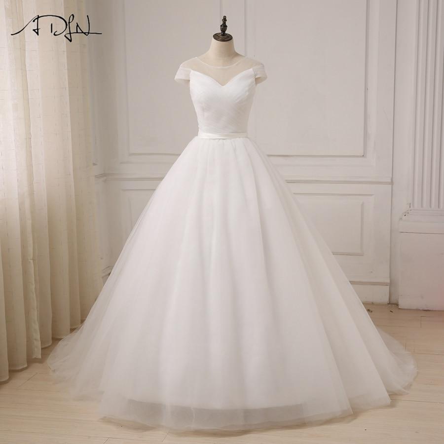 ADLN 2017 Tulle White Ivory Ball Gown vestidos de novia para vestido - Vestidos de novia