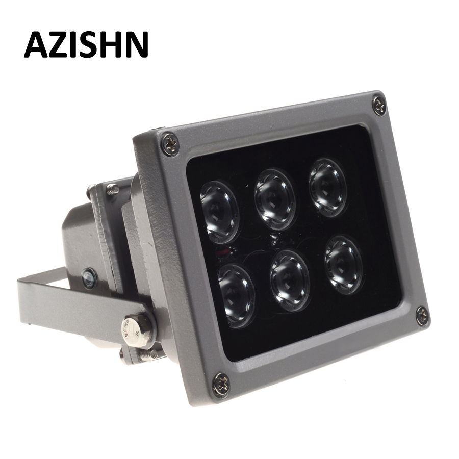 AZISHN CCTV LEDS IR Illuminator Infrared Lamp 6pcs Array Led IR Outdoor Waterproof Night Vision CCTV Fill Light For CCTV Camera